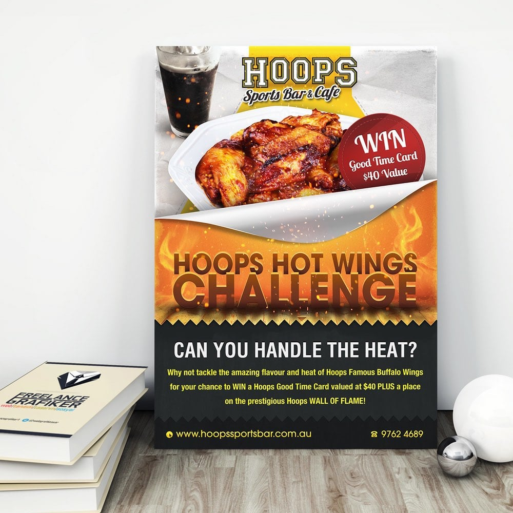 Hot Wings Challenge poster design for Melbourne's Hoops Sports Bar